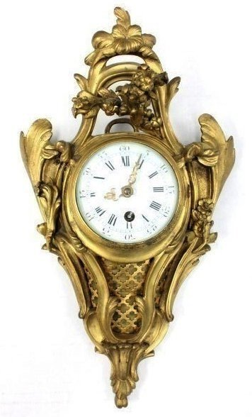 19TH CENTURY GILT BRONZE CARTEL CLOCK