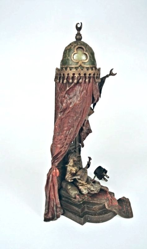 FRANZ BERGMAN AUSTRIAN COLD PAINTED BRONZE LAMP
