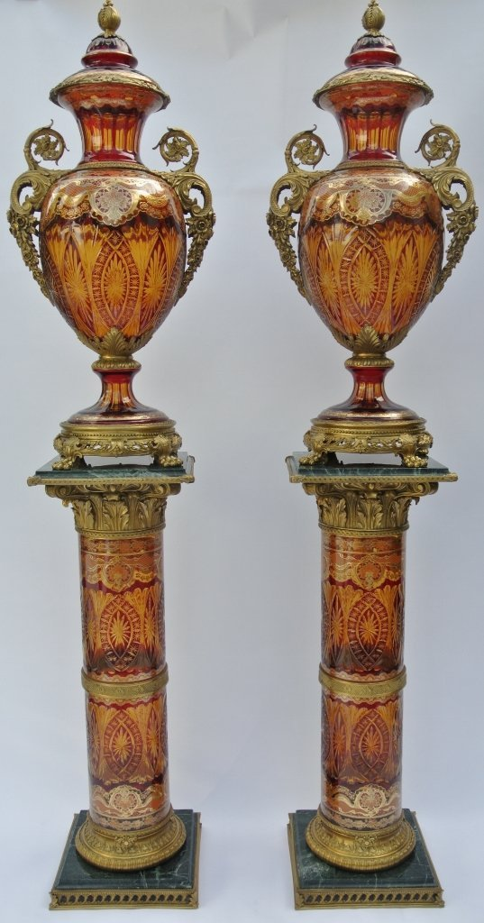 PAIR OF PALATIAL BOHEMIAN STYLE VASES ON PEDESTALS