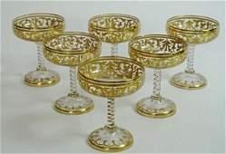 19 TH.C BACCARAT GILT & ENAMELED CHAMPAGNE GLASSES Vie