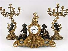 IMPOSING LOUIS XVI STYLE BRONZE PORCELAIN CLOCK SET