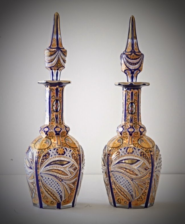 A PAIR OF BOHEMIAN GLASS DECANTERS MADE FOR THE PERSIAN