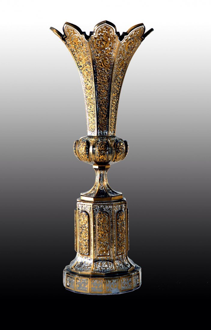 A 19TH CENTURY ENAMELED AND GILT BOHEMIAN GLASS VASE