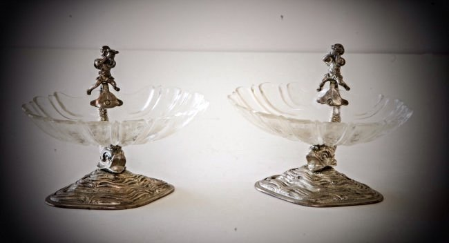 PAIR OF 19TH CENT CONTINENTAL SILVER AND ETCHED GLASS