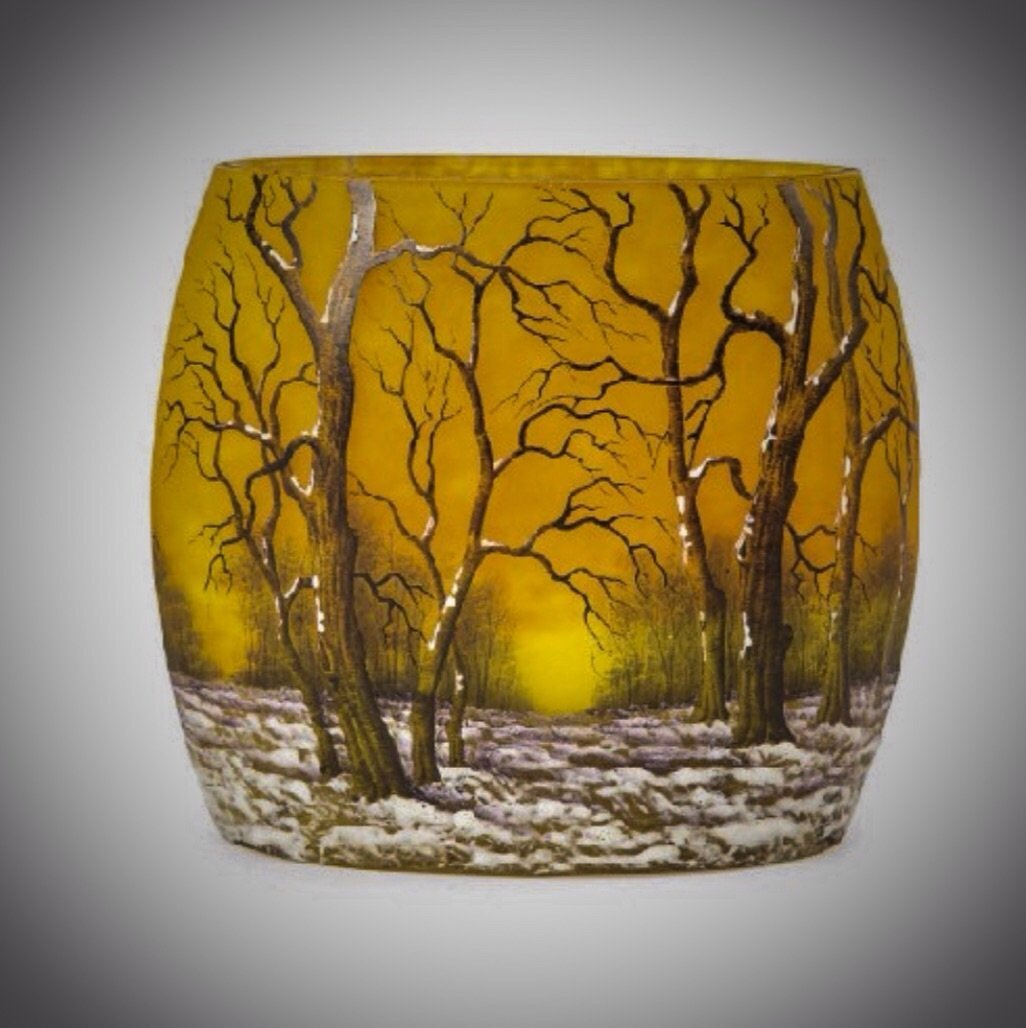 A DAUM NANCY WINTER SCENE VASE