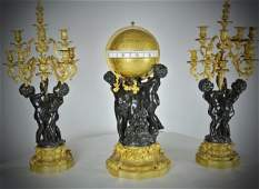 MONUMENTAL AND RARE NAPOLEON III ROTARY BRONZE CLOCK