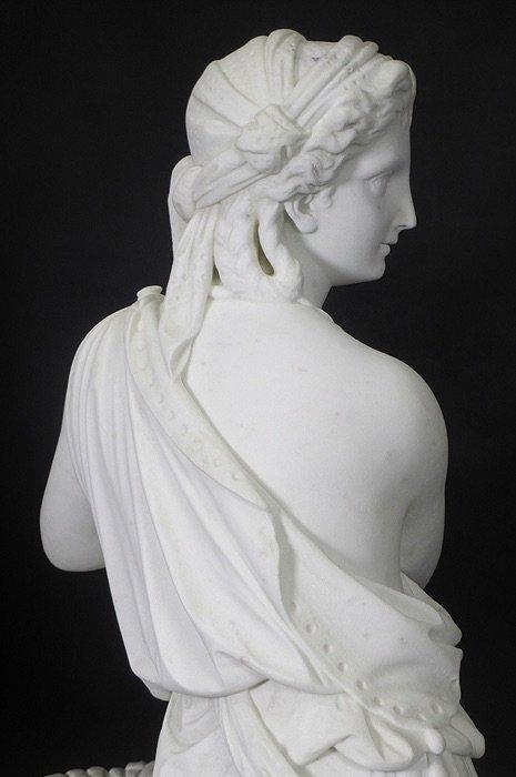 19TH CENTURY WHITE MARBLE SCULPTURE BY EDMONIA LEWIS - 5