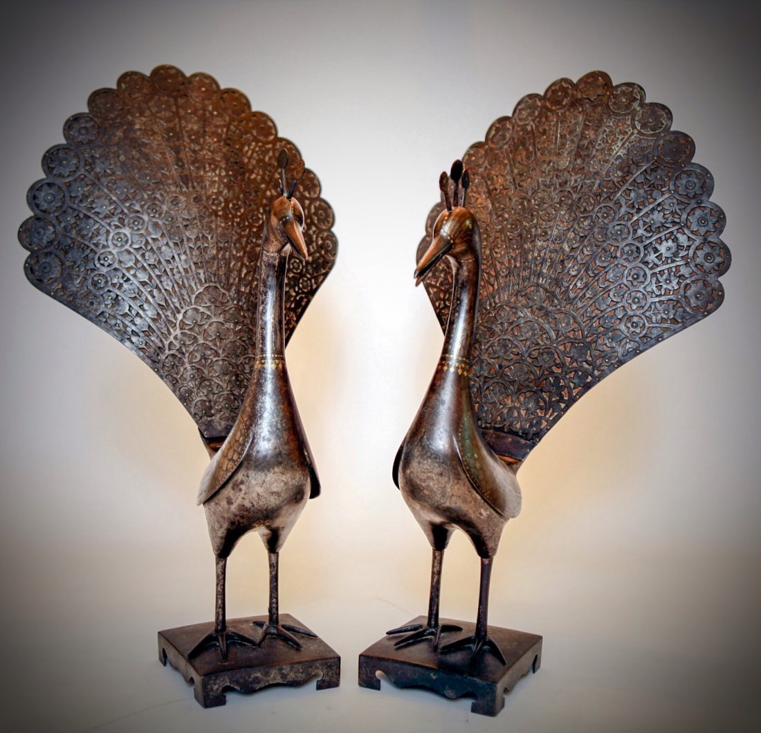 A PAIR OF 19TH C QADJAR GOLD AND SILVER INLAID PEACOCKS