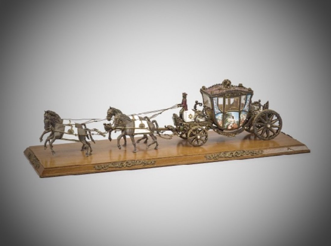 A VERY LARGE AUSTRO-HUNGARIAN ENAMELED SILVER CARRIAGE