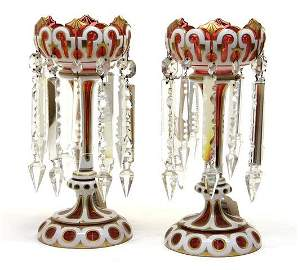 A PAIR OF 19TH CENTURY BOHEMIAN GLASS LUSTERS