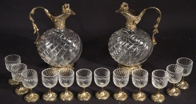 19TH CENT STERLING SILVER AND BACCARAT GLASS LIQUOR SET