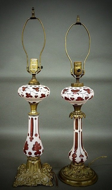 2 BOHEMIAN GLASS LAMPS