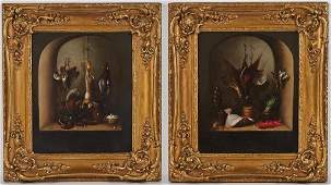 Pair of 19C English Game Oil on Canvas Paintings