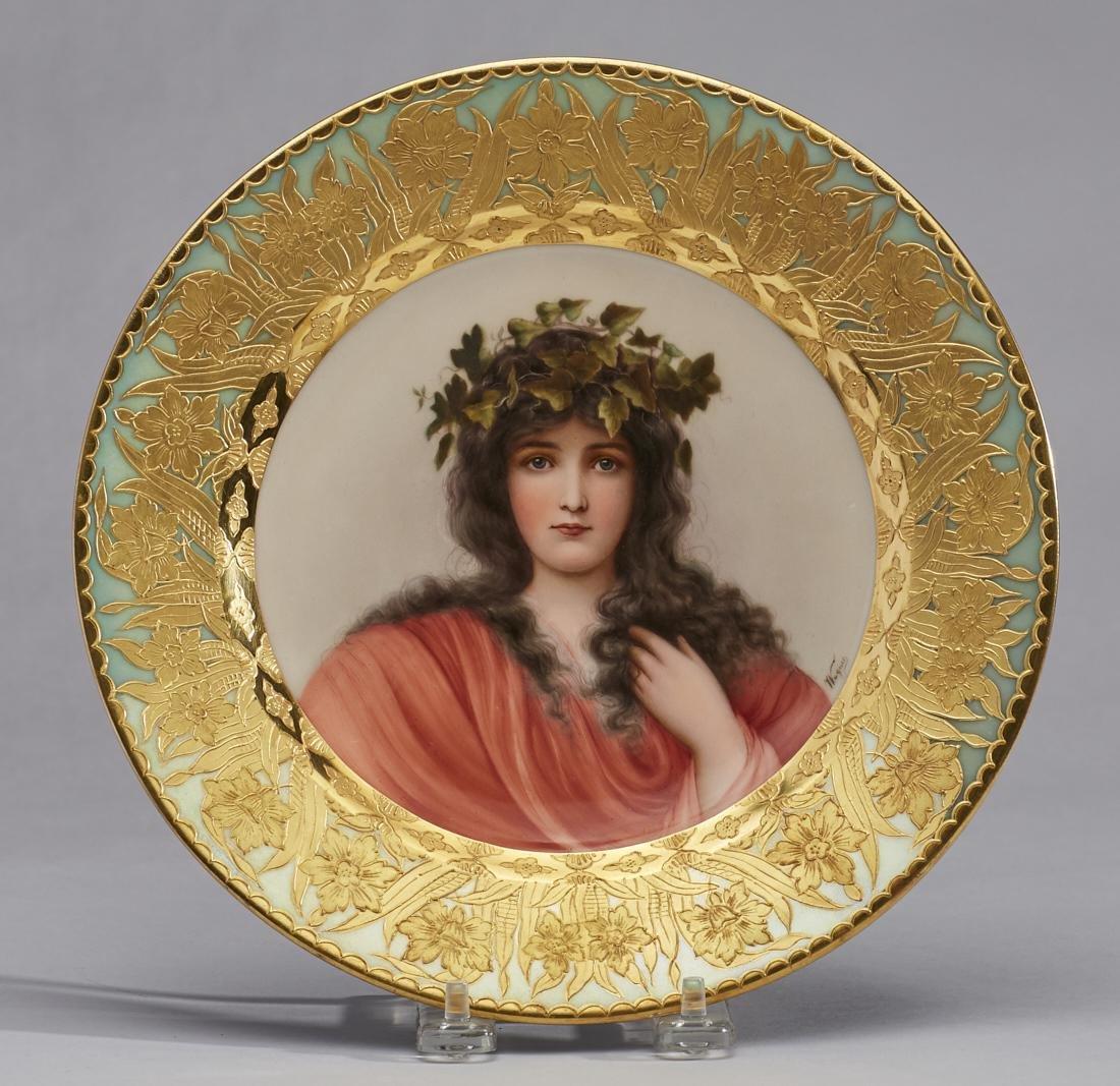 Royal Vienna Wagner 19C Portrait Plate Epheu