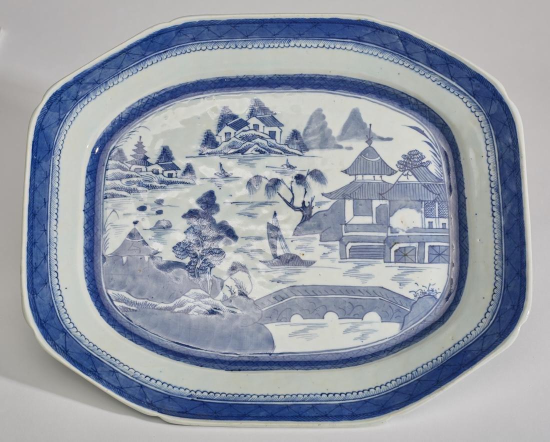 "Chinese 19C Canton Porcelain Deep 17"" Platter"