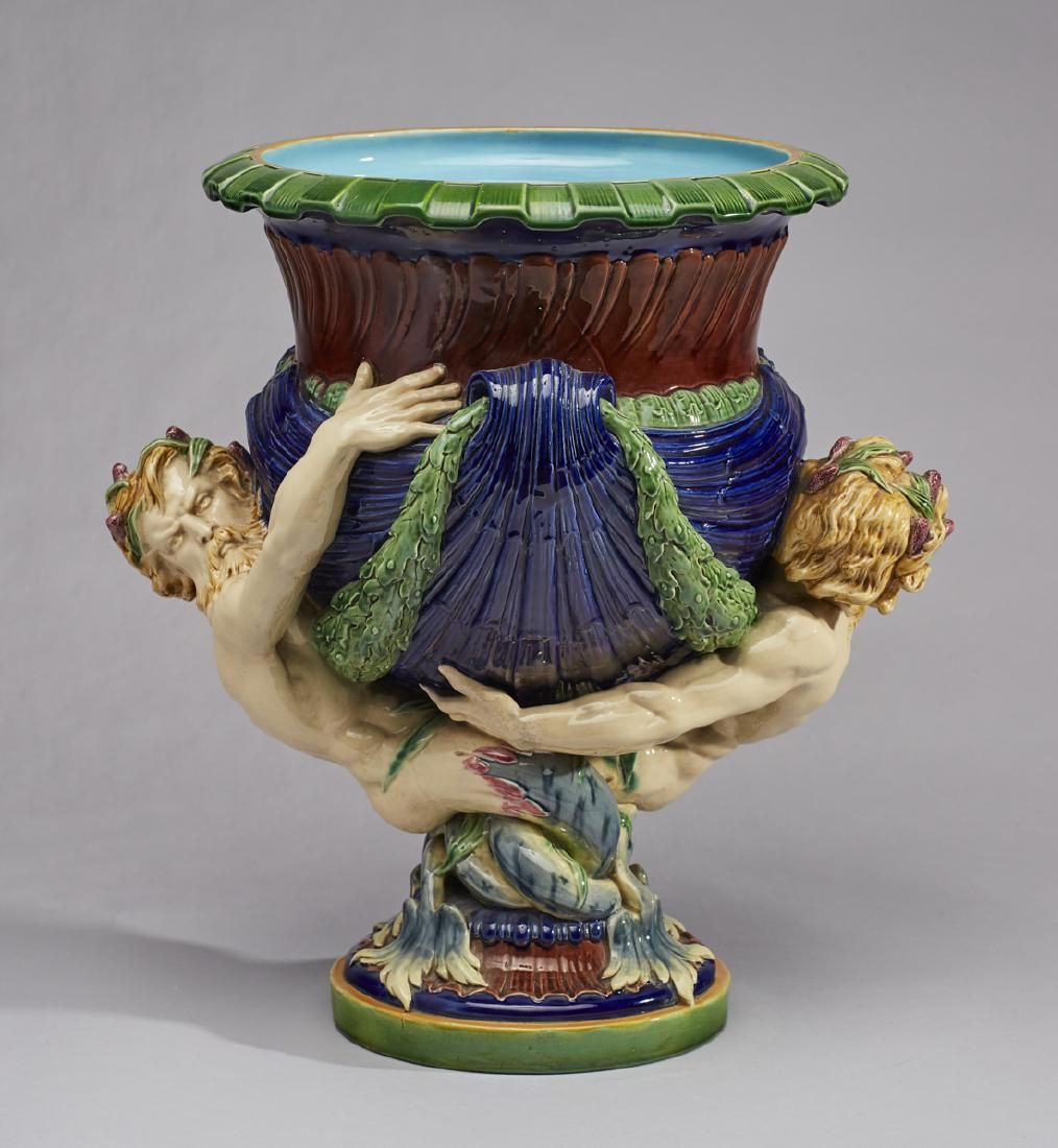 Minton Majolica Pottery Mermen Wine Cooler Urn
