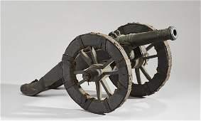Continental 19C Antique Bronze Wood Signal Cannon