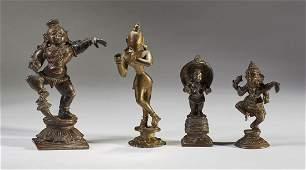 Four Old 19C Bronze Figures of Deities & Buddhas