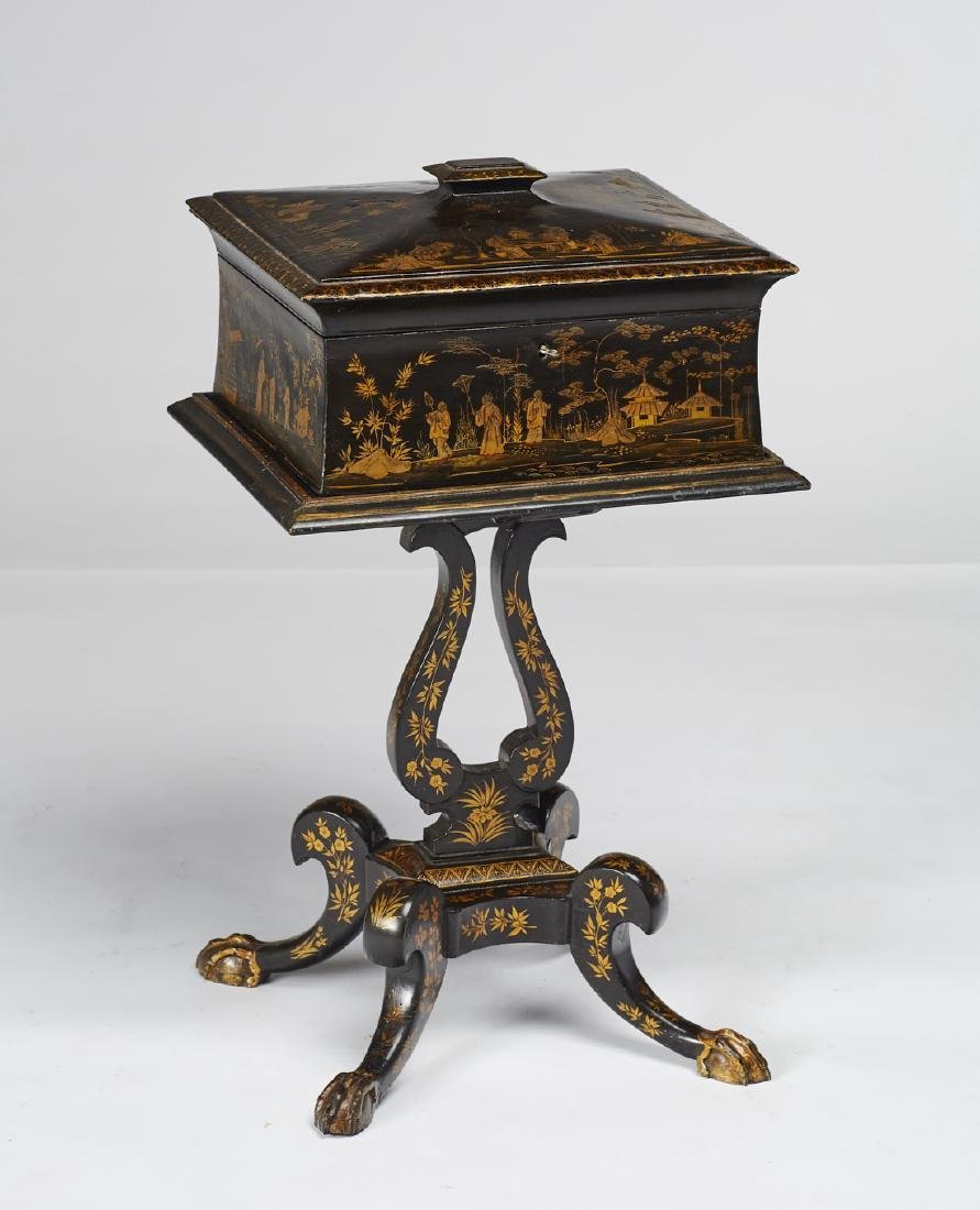 English 19C Lacquered Chinoiserie Tea Caddy Stand