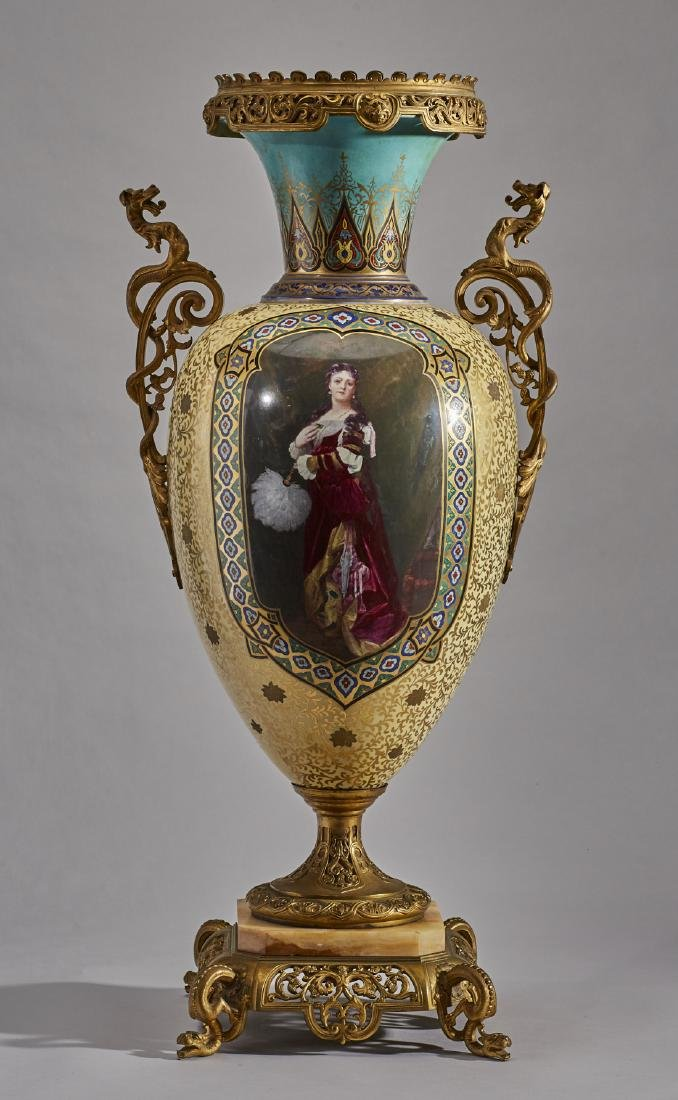 French 19C Enamel Sevres Porcelain Gilt Bronze Urn