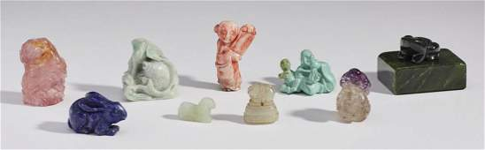 Group of Chinese Asian Carved Hardstone Figures
