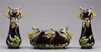 Three Piece French Majolica Orchid Garniture
