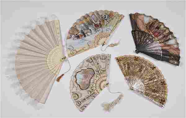 Group of Five 19C French Silk and Bone Fans