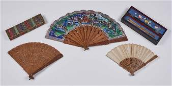Group of 3 Chinese 19C Painted Carved Wood Fans