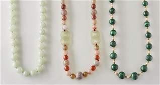 Three Malachite, Jadeite Hardstone Bead Necklaces
