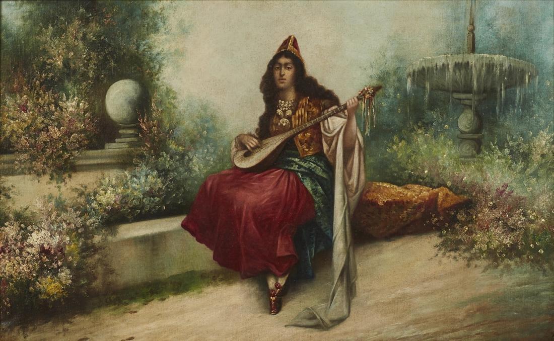 Orientalist 19C Figure in Garden Oil Painting
