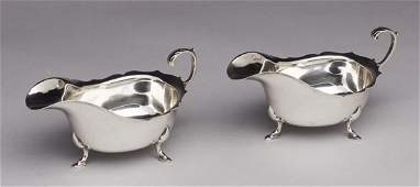 Pair of 1906 English Sterling Silver Sauce Boats