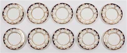 Wedgwood Cobalt and Gilt Set of Ten Service Plates