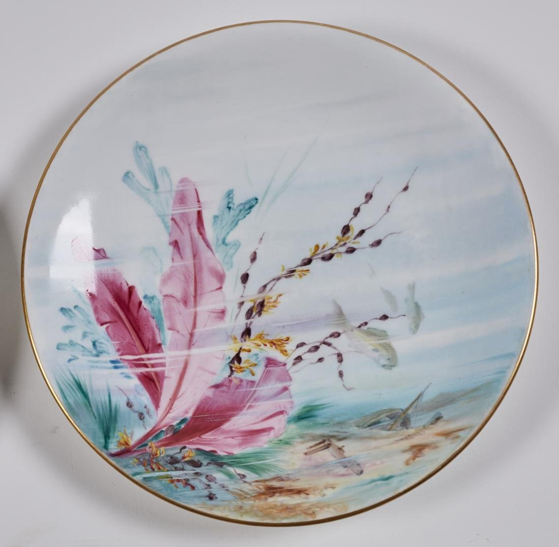 Royal Worcester 19C Aquatic Flora Sealife Plates - 2