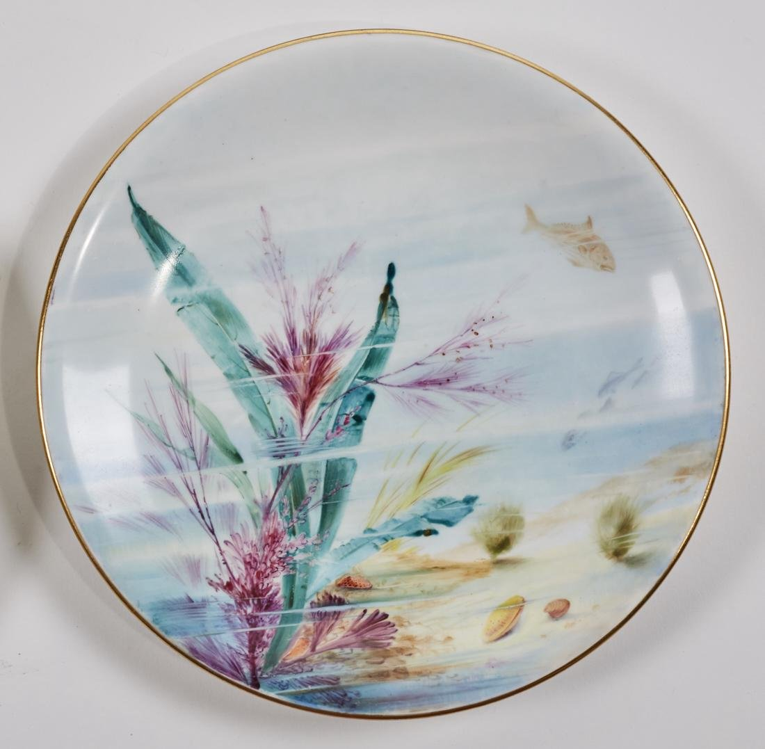 Royal Worcester 19C Aquatic Flora Sealife Plates - 3
