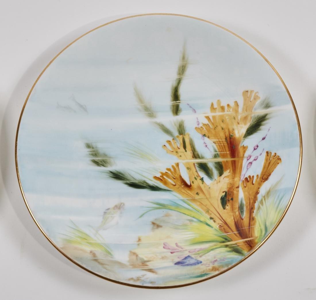 Royal Worcester 19C Aquatic Flora Sealife Plates - 4
