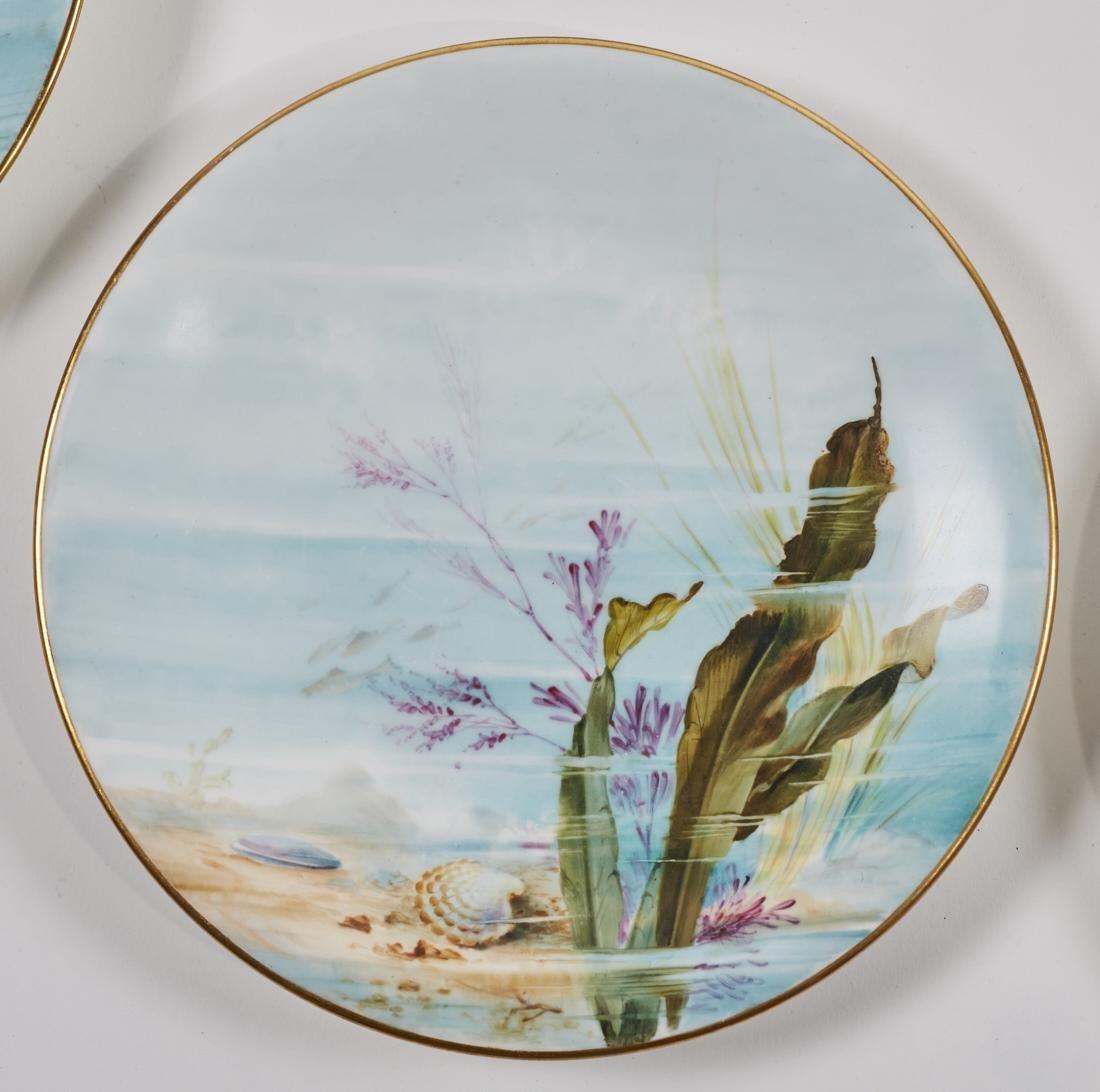 Royal Worcester 19C Aquatic Flora Sealife Plates - 5