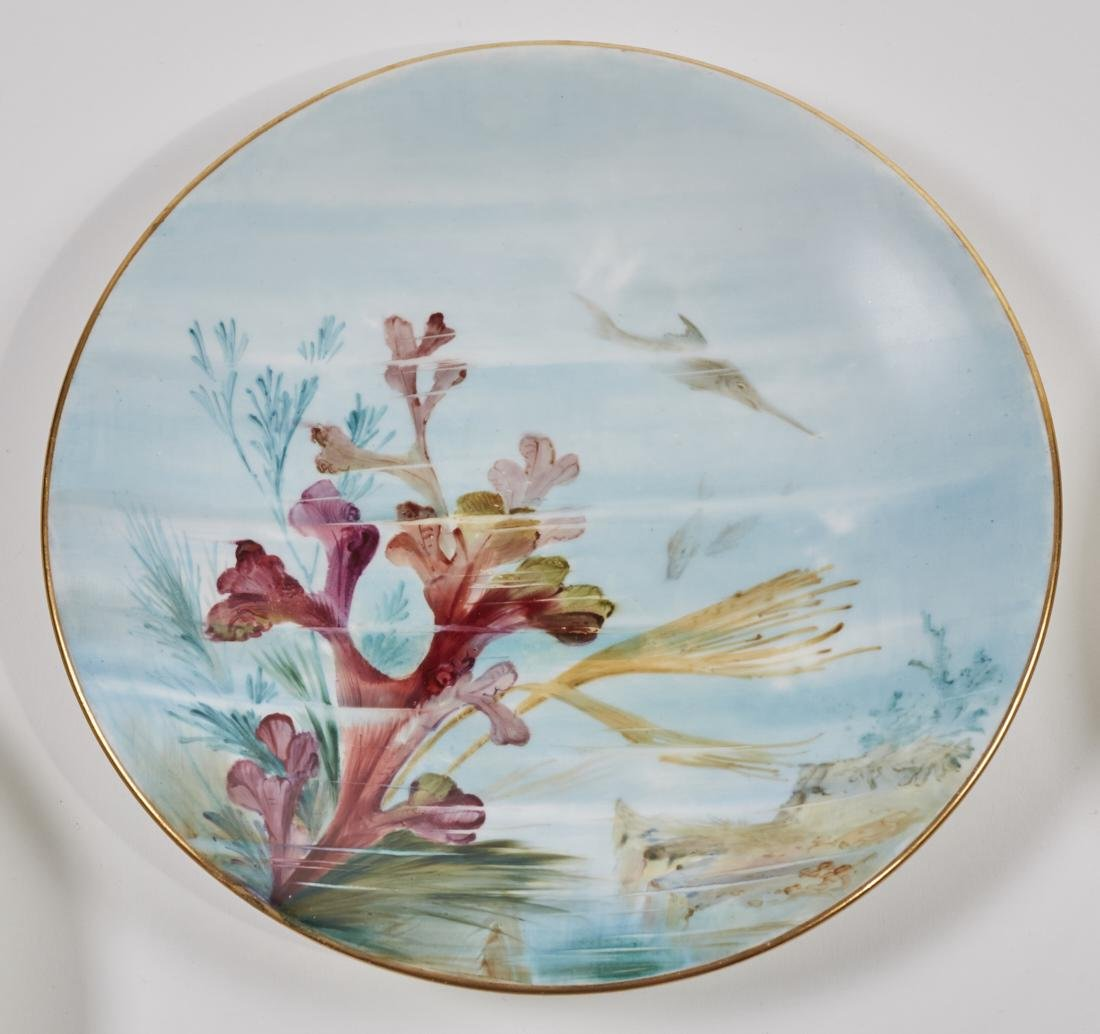 Royal Worcester 19C Aquatic Flora Sealife Plates - 6