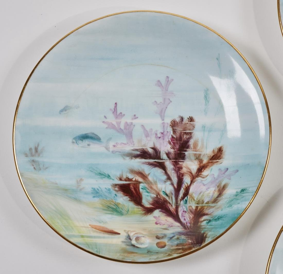 Royal Worcester 19C Aquatic Flora Sealife Plates - 7