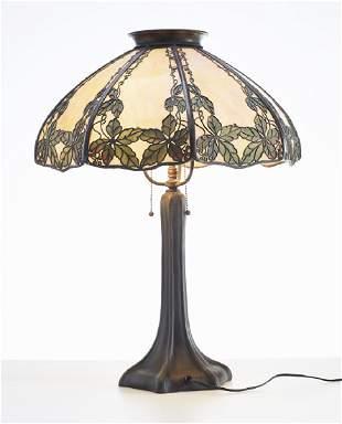 Handel 1920's Slag Glass Filigree Overlay Lamp