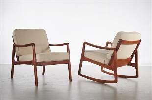 Ole Wanscher Danish Modern Chair and Armchair