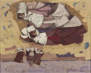 Louis Bosa (Ital, 1905-1981) Flying Nuns Painting