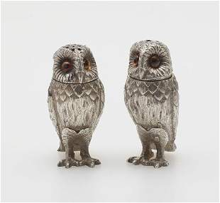 Pair of Tiffany & Co. Sterling Owl Salt & Peppers
