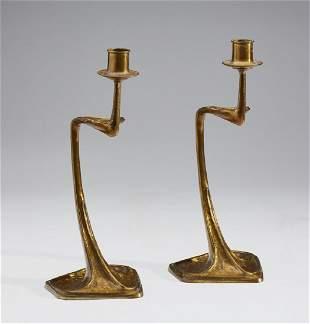 Gustav Gurschner - Bronze Art Nouveau Candlesticks