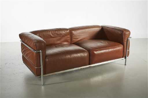 Le Corbusier Style Tan Leather Modern Chrome Sofa
