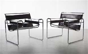 Pair Of Wassily Marcel Breuer Brown Leather Chairs