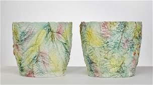 """Pair of Italian 11"""" Art Pottery Italy Jardinieres"""