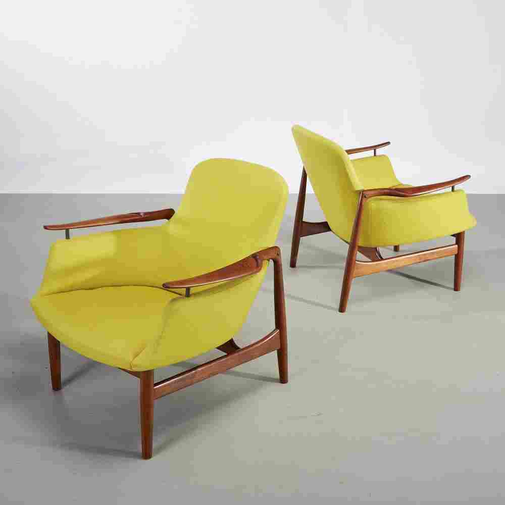 Pair of Finn Juhl Teak NV-53 Danish Lounge Chairs