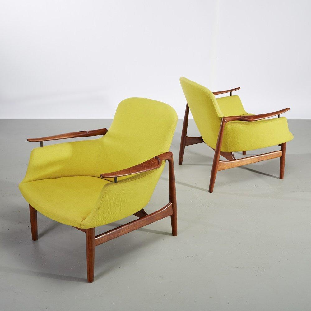 Pair of Finn Juhl Teak NV-53 Danish Lounge Chairs