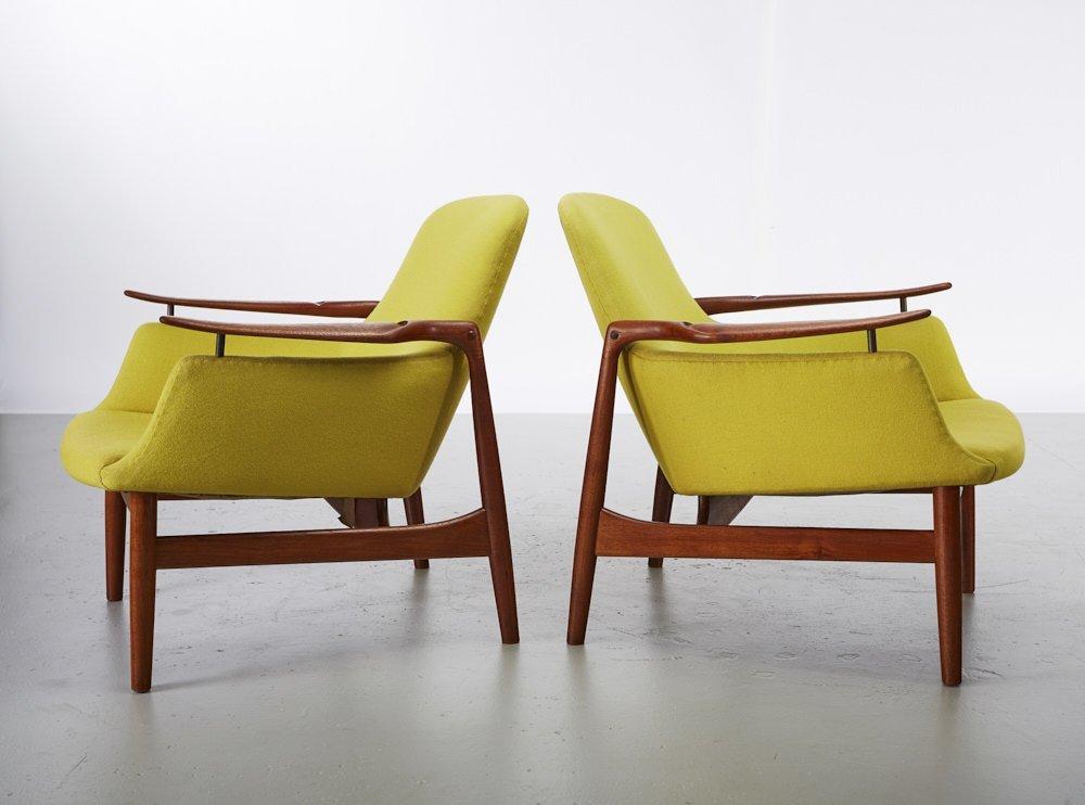 Pair of Finn Juhl Teak NV-53 Danish Lounge Chairs - 2