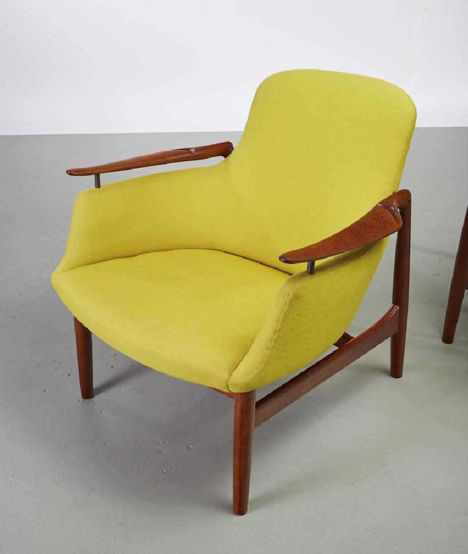 Pair of Finn Juhl Teak NV-53 Danish Lounge Chairs - 5